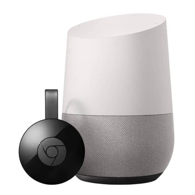 Google Home Sprachassistent und Google Chromecast in schwarz