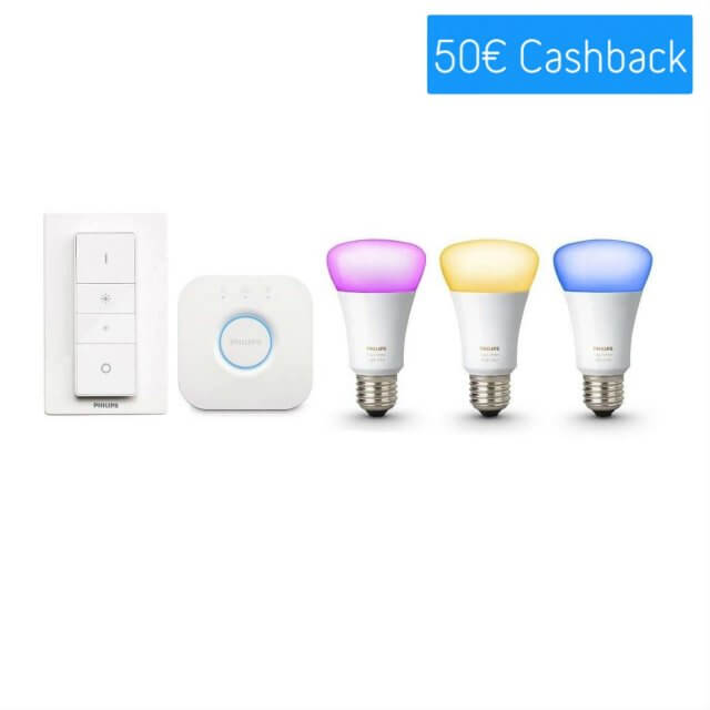 Philips Hue White and Color Ambiance E27 Starter Kit - 3 Lampen, Bridge + Dimmschalter Cashback_Aktion