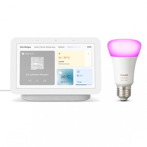 Google Nest Hub (2. Generation) + Philips Hue White & Color Ambiance E27 Bluetooth