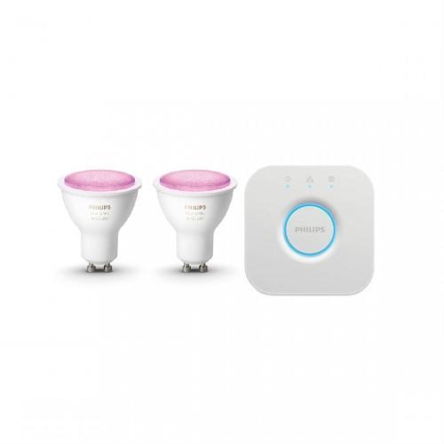 Philips Hue GU10 Color Starter Set lite Bluetooth - 2 Lampen, Bridge